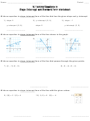 Writing Equations In Slope-intercept And Standard Form Worksheet With Answers - Chapter 4.1