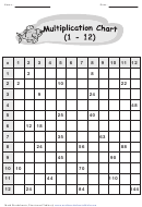 Multiplication Table 1-12 Worksheet With Answer Key