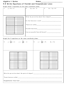 Equations Of Parallel And Perpendicular Lines Worksheet - Algebra 1, Ms. Harris, Dublin Jerome High School