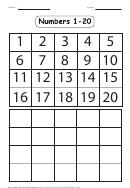 Fillable Numbers 1-20 Worksheet Printable pdf