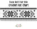 Faux Knit Fair Isle Crochet Hat Chart Printable pdf