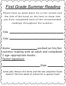 First Grade Summer Reading Log With Parent Signature