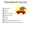 Plane/road Trip Packing List