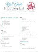Real Food Shopping List Template