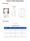 Unisex T-shirt Sizing Chart Template