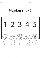 Numbers 1-5 Chart - Black And White