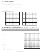 Quadratic Functions Worksheets With Answer Key - Pre-calculus, Michigan State University