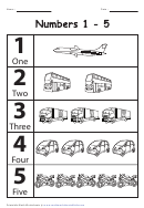 Black & White Transport 1-5 Numbers Chart