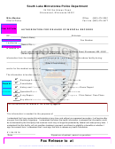 Fillable Authorization For Release Of Medical Records - South Lake Minnetonka Police Department Printable pdf