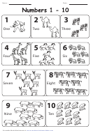 Black & White African Animals Numbers 1-10 Chart