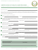 Certification Of Health Care Provider Form - California Department Of Fair Employment And Housing