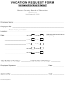 Vacation Request Form - Mason County Board Of Education