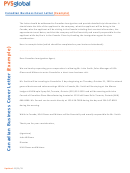 Canadian Business Cover Letter Sample