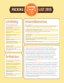 Camp Glp Packing List - 2015