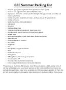 Summer Packing List - Gcc