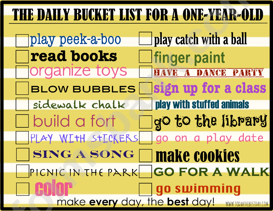 The Daily Bucket List For A One Year Old Template