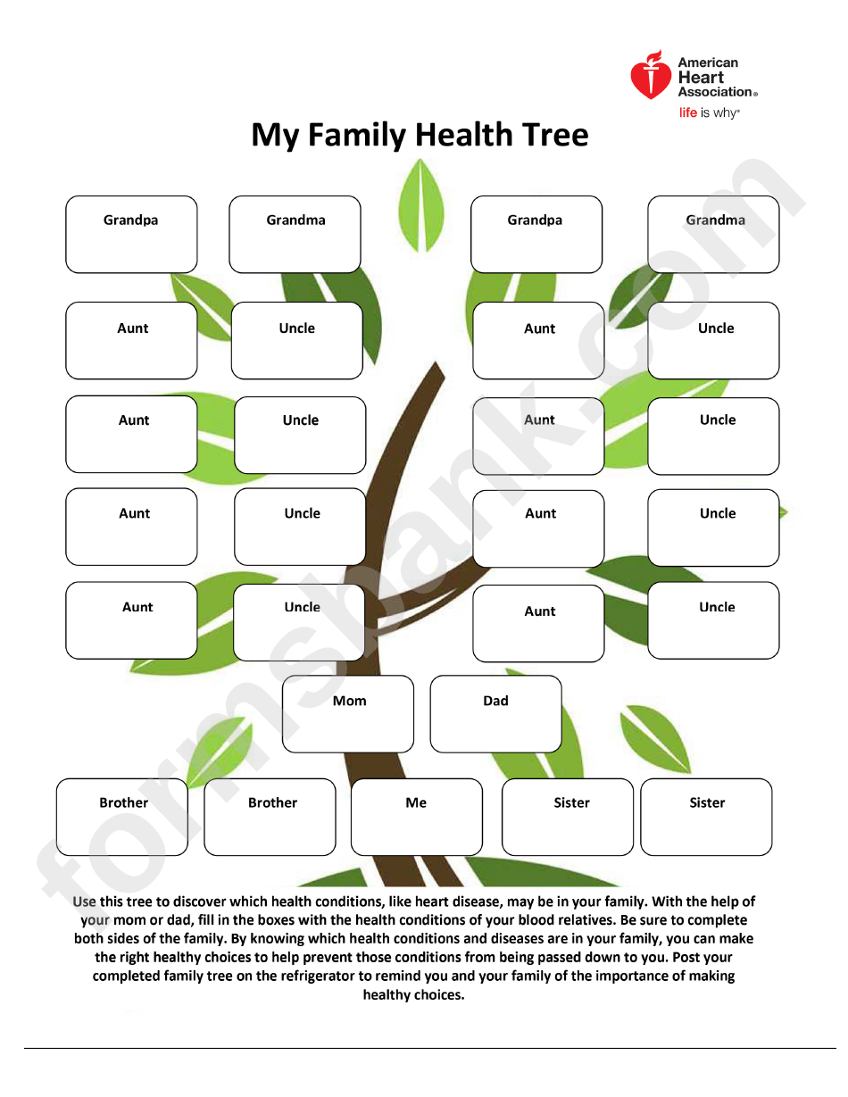 My Family Health Tree Template - American Heart Association