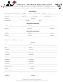 Wedding Reception Planning Sheet