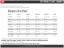Fit Guide Women's Size Chart - 2014
