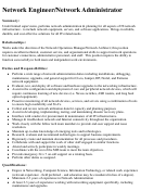 Network Engineer/network Administrator Job Description Template