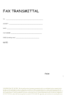 Confidential Fax Transmittal Template