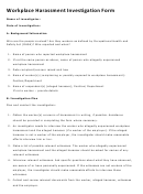 Workplace Harassment Investigation Form
