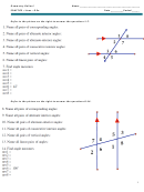 Angles And Lines Worksheet