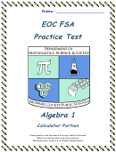 Eoc Fsa Practice Test - Algebra 1, Florida Department Of Education