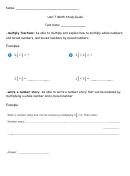 Unit 7 Math Study Guide Worksheet