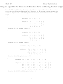 Simplex Algorithm For Problems In Standard Form And Having Feasible Origin Worksheet - Math 407
