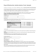 Sample Payroll Deduction Authorization Form