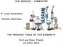 Clil Module Periodic Table Of The Elements Worksheet - Prof.ssa Elena Tibaldi - Istituto Sant''anna - 2012-2013