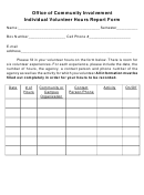 Individual Volunteer Hours Report Form - Office Of Community Involvement