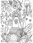 Girl And Nature Coloring Sheet