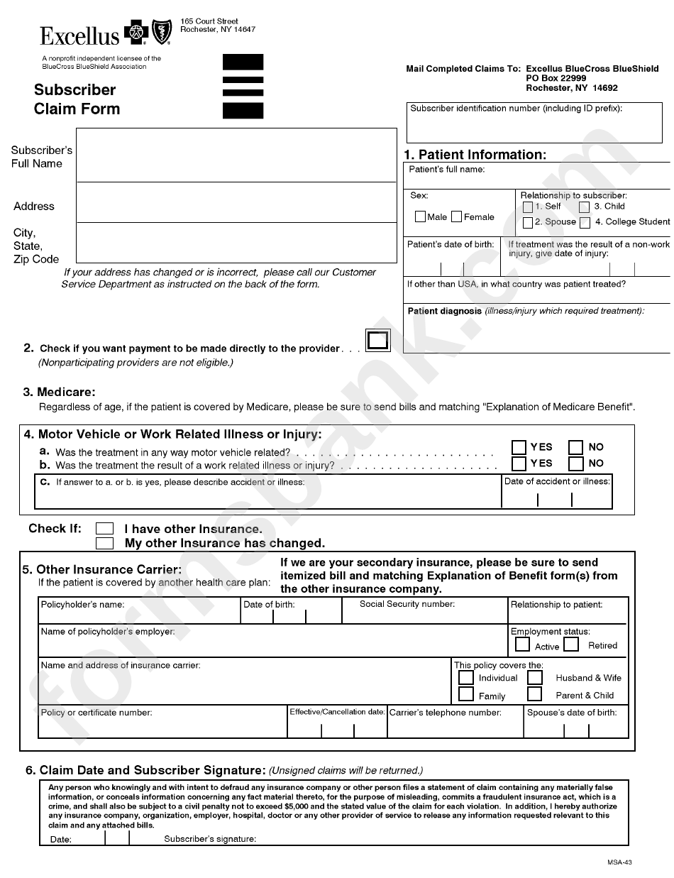 Form Msa-43 - Subscriber Claim Form
