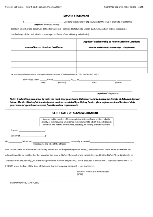 Fillable Sworn Statement Form - California Department Of ...