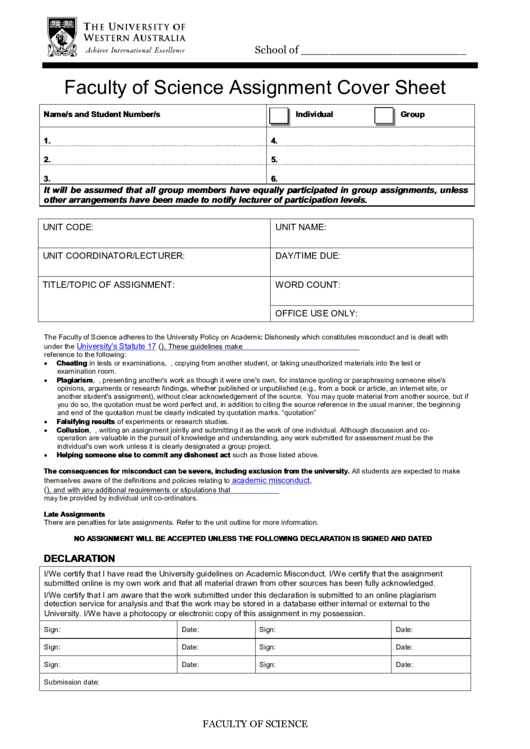 Faculty Of Science Assignment Cover Sheet