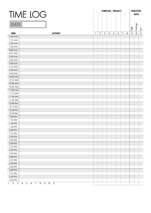 Time Log Template Printable pdf