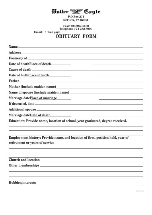Sample Obituary Template Printable pdf