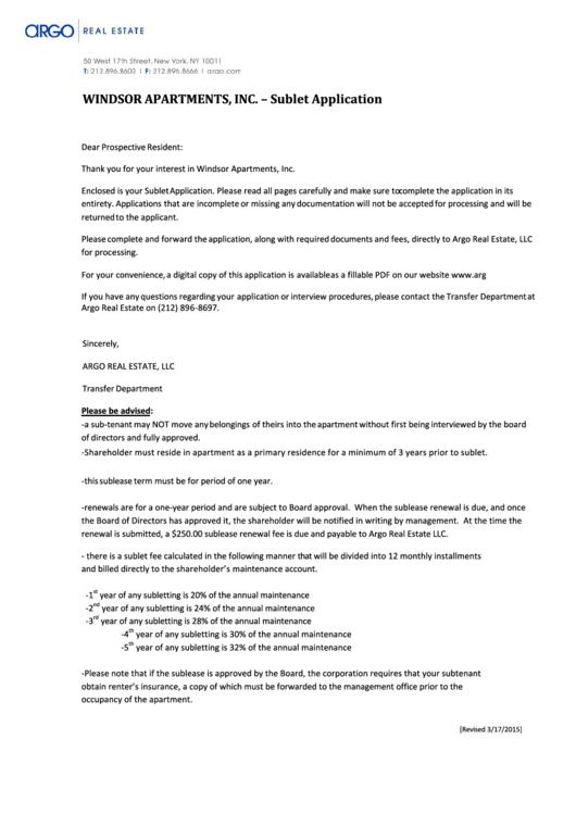Sublet Application Form printable pdf download