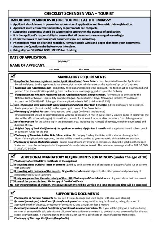 Schengen visa checklist tourist printable pdf download for Documents checklist passport