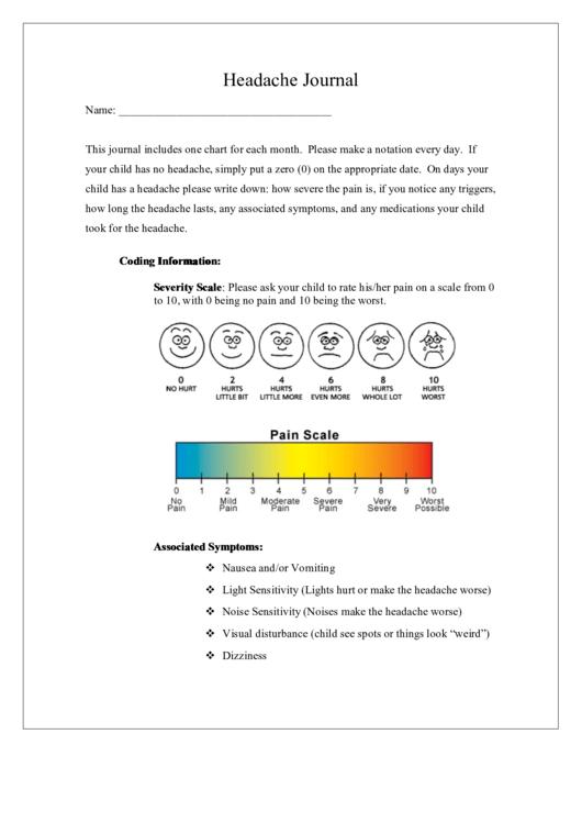 Headache Journal Template Printable pdf