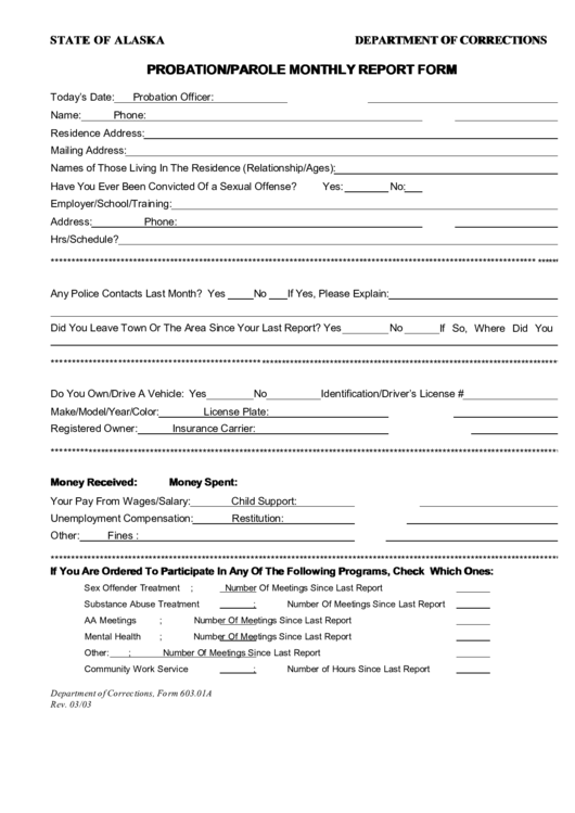 Department Of Corrections Probation/parole Monthly Report Form Printable pdf