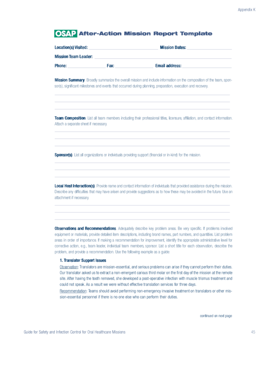 Osap After-action Mission Report Template