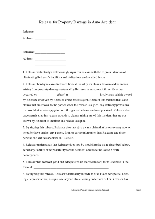 Release for property damage in auto accident printable pdf for Property damage waiver template