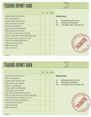 Blank Green Teacher Report Card Template