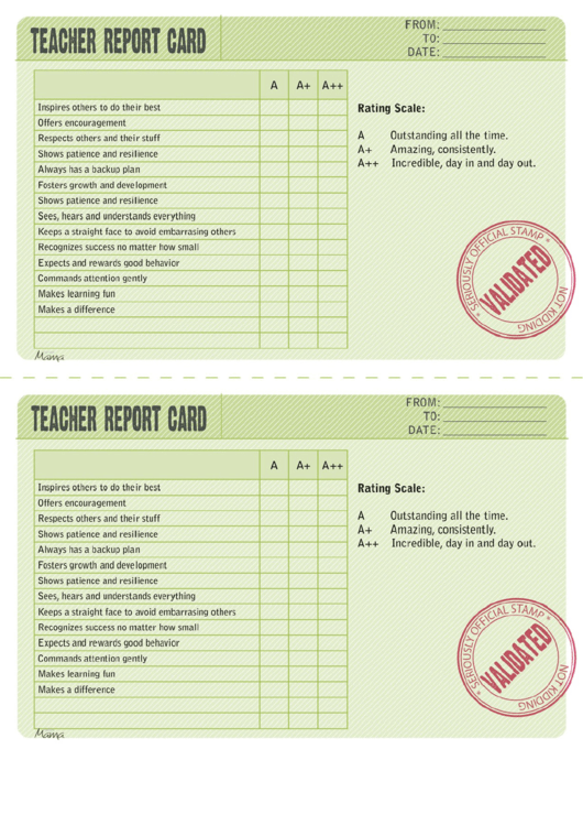 Blank Green Teacher Report Card Template Printable pdf