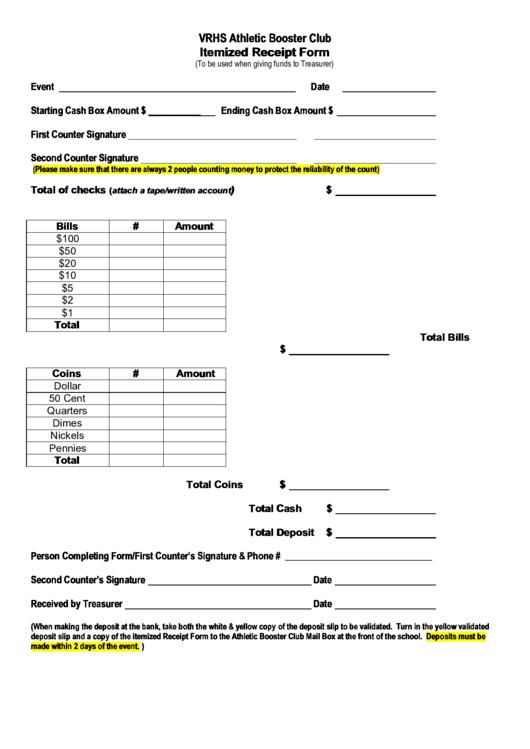 Vrhs Athletic Booster Club Itemized Receipt Form