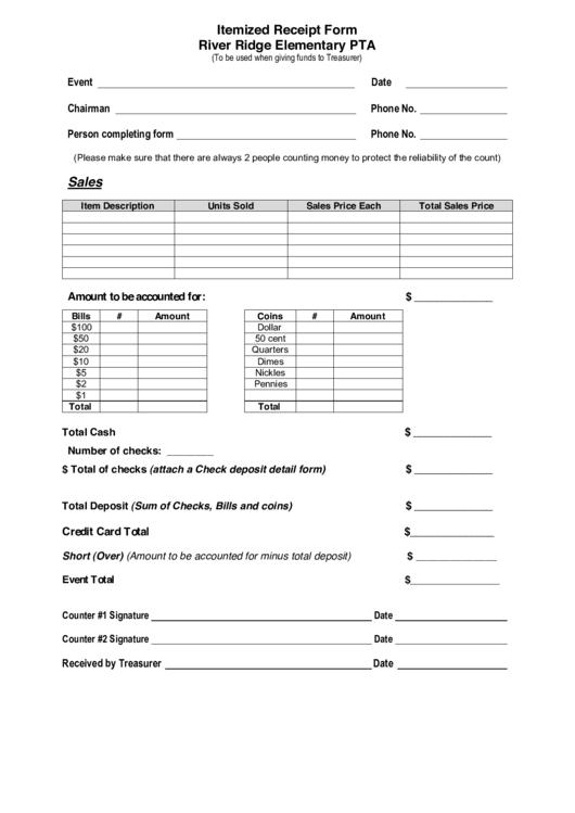Itemized Receipt Form River Ridge Elementary Pta