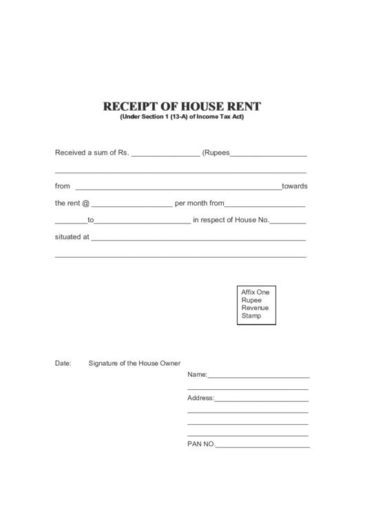 Receipt Of House Rent